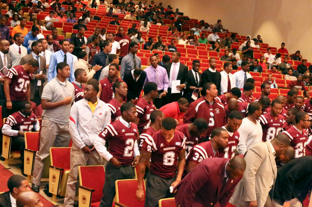 Morehouse College Football Team during the opening ceremony for 2012 Homecoming.