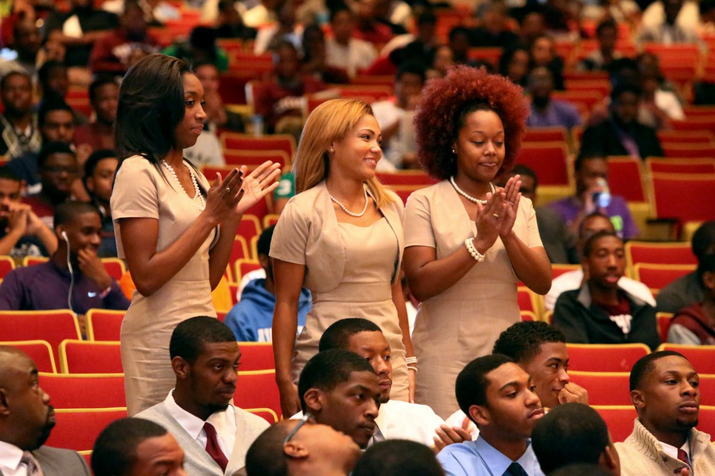 Ms. Maroon and White and her court during the opening ceremonies of the 2012 Morehouse College Homecoming.