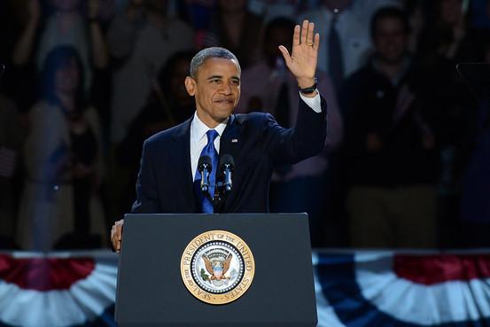 US President Barack Obama arrives on stage after winning the 2012 US presidential election November 7, 2012 in Chicago.  IMAGE: WSJ.com