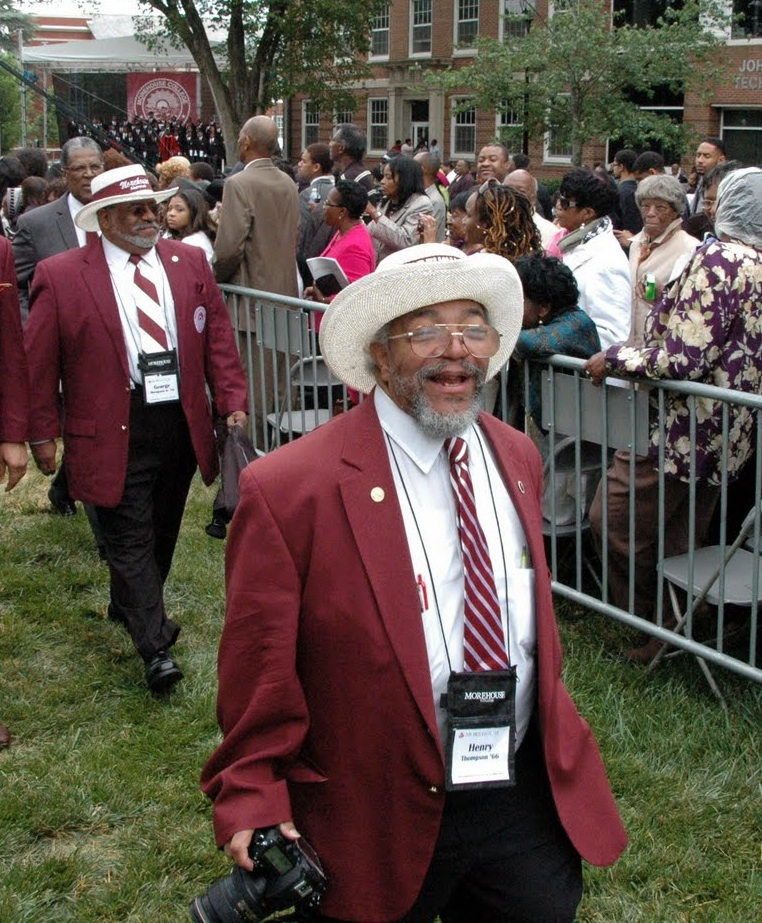 """Henry """"Lookup"""" Thompson leads the alumni out after the graduation ceremony in 2011. IMAGE: Morehouse College Parents Association of Metro Washington"""
