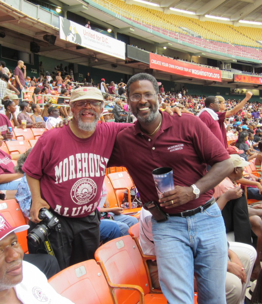 Henry (Lookup) Thompson and Ken Wright, Morhouse Alum, strike a pose at the 2012 Nation's Classic Football Game. IMAGE: Morehouse College Parents Association of Metro Washington
