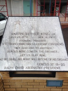 The plaque found on the grounds of the National Civil Rights Museum in Memphis, Tennessee.