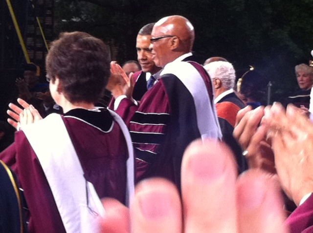 A standing ovation for the 2013 Morehouse College Commencement Speaker, President Barack Obama.