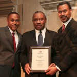 (L) Kevin Green, President Morehouse Alumni Association, (M) Alumnus of the Year Dr. Alvin Thorton, Jr. '71, and (R) John S. Wilson, President Morehouse College