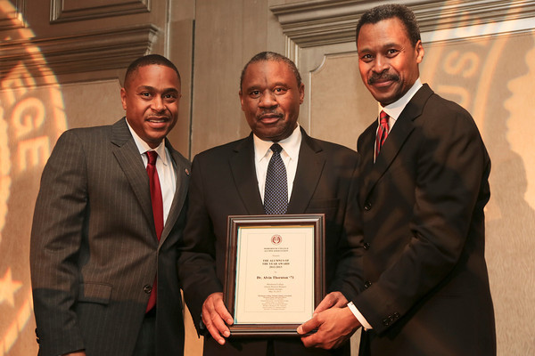 (L) Kevin Green, President Morehouse Alumni Association, (M) Alumnus of the Year  Dr. Alvin Thorton, Jr. '71, and (R) John S. Wilson, President Morehouse College