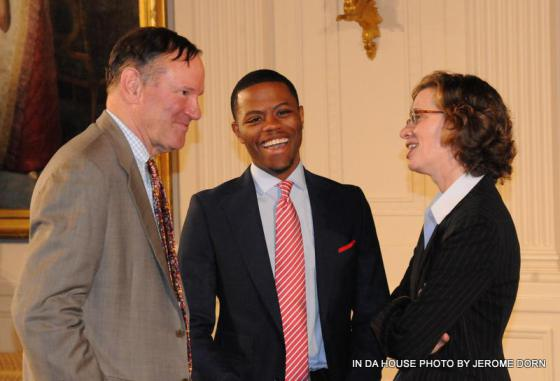 Derrius Quarles (center); Michelle Nunn, the CEO of Points of Light (right); and Washington Post CEO Donald Graham at the 5000th Daily Point of Light Award at the White House on Monday June 15, 2013 (photo credit Jerome Dorn)