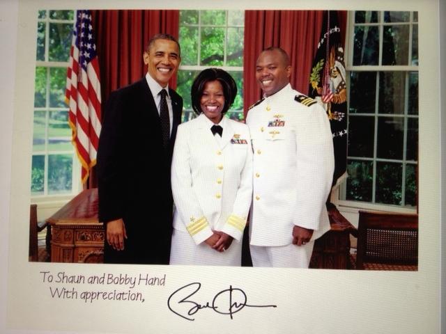 President Barack Obama, CDR Shaun Hand CAU C/O 1995 and CDR Bobby Hand
