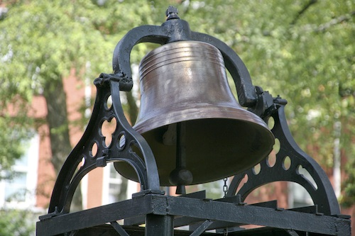 The historic chapel bell outside of Sale Hall on the Morehouse College campus.