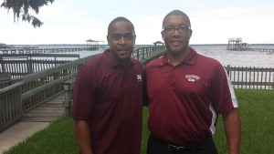 Morehouse Alumni President Kevin R. McGee (L) with Jacksonville Chapter president Mark Register (R) attend a student send off event and the Miller residence.